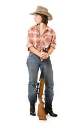 Cowboy woman on a white background.