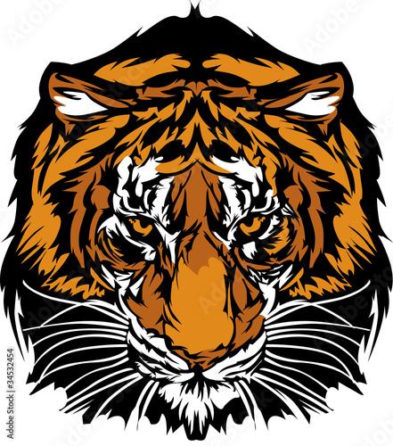 Foto op Canvas Tijger Tiger Head Graphic Mascot