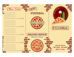 Pizzeria Take-Away Restaurant Leaflet - vector EPS AI8