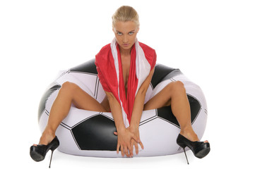 woman with  flag in chair in tsoccer ball