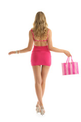 beautiful woman with rosy shopping bags