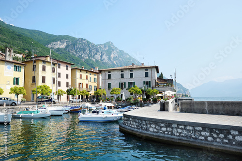 Fishing boats in Gargnano, by the lake of Garda, Italy