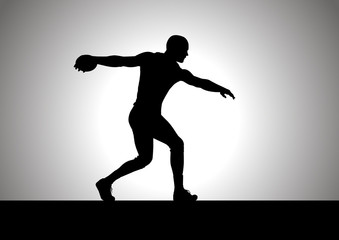 Silhouette illustration of discus thrower