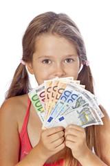 Mädchen mit Geld