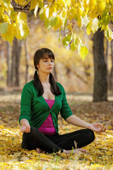 beautiful girl with  yoga in the yellow leaves