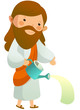 Close-up of Jesus Christ holding watering can