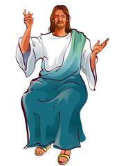 Portrait of Jesus Christ sitting
