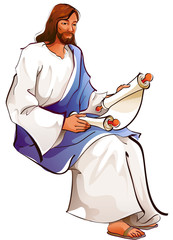 Side view of Jesus Christ holding paper