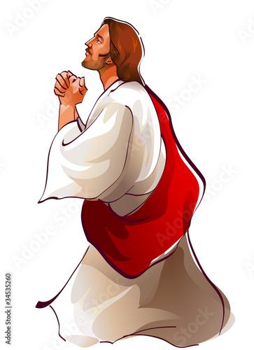 Side view of Jesus Christ praying