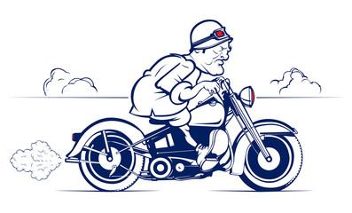 retro style cartoon biker