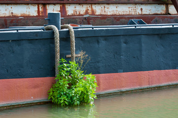 Details of an old moored ship
