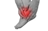 Acute pain in a woman ankle poster