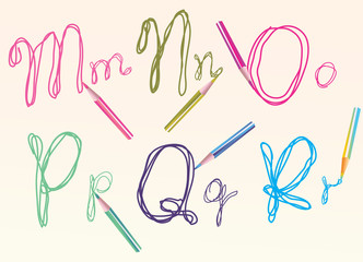color hand drawing letters for your design, mnopqr