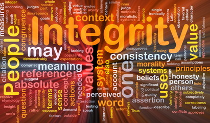Integrity principles background concept glowing