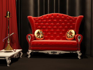 Red sofa and  hookah in interior. Drapery
