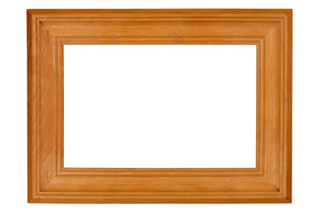 Golden wooden frame for a photo in vintage style