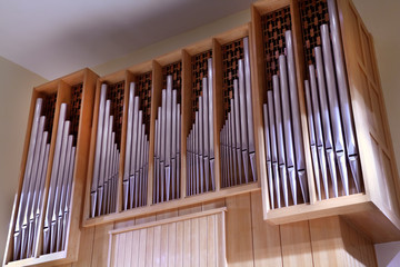 Detail look of large pipe organ