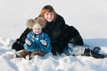 Winter portrait with mommy