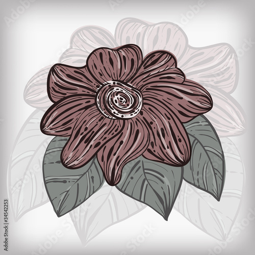 vector card with abstract hand drawn flower