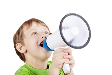 Little boy in green t-shirt shouts something into megaphone