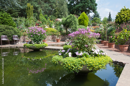 Poster Water planten Ornamental garden with beautiful pond