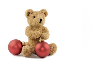 Teddy mit rote Kugeln