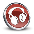 "Red 3D Style Icon ""Headphones"""