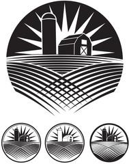 Farm black and white ico logo