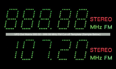 FM Radio Display Macro Green, VFD Dot Matrix Closeup