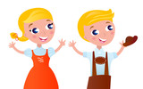Octoberfest bavarian boy and girl isolated on white. Vector