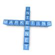 Internet marketing 3D crossword on white background
