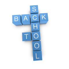 Back to school 3D crossword on white background