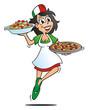 Pizza Girl Serving