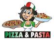 Leinwanddruck Bild - Pizza Pasta Girl