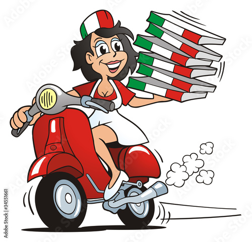 Pizza Girl driving Scooter