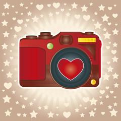 Câmera fotográfica vermelha