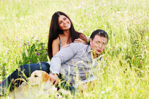 lovers on grass field