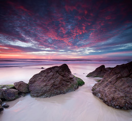 australian seascape at dawn on square format