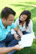 Couple Studying on Grass