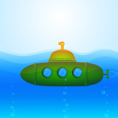 Beautiful Vector Submarine Illustration