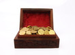 Wooden Treasure Chest Filled with Gold Coin