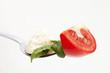 Gabel mit Tomate Mozzarella