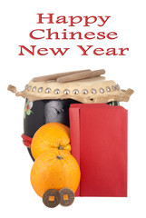 Lucky Coins, Oranges, Drumset and Blank Angpows for Text