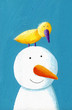 Happy snowman with yellow bird
