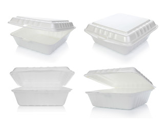 Styrofoam of food container isolated on white background