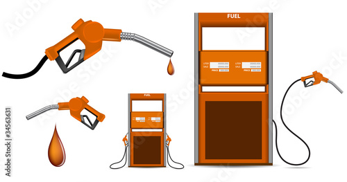 orange gas nozzle pointing isolated on white background