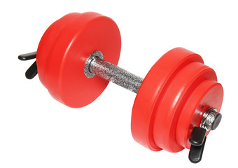 A sporting equipment - single red dumbbells.