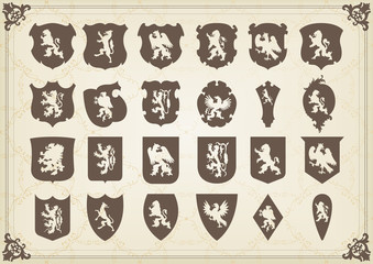 Vintage coat of arms shields collection illustration