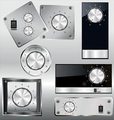 Volume knob with calibration on metal plate