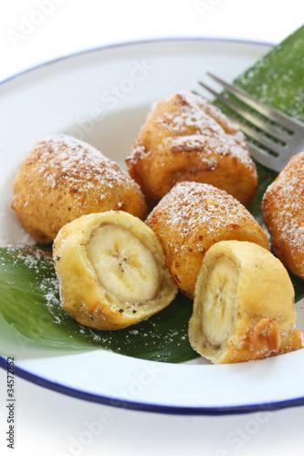 poster of fried banana fritters , pisang goreng